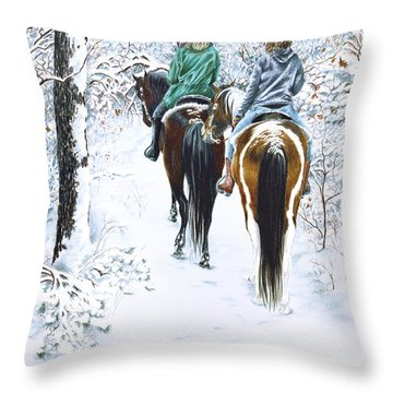 Ride Into Faerieland Throw Pillow by Jill Westbrook