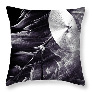 Ride Or Suspended Cymbal In Sepia 3241.01 Throw Pillow