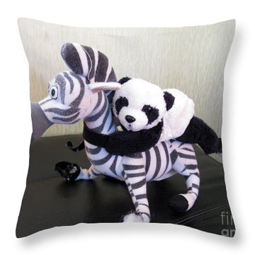 Throw Pillow featuring the photograph Riding A Zebra.traveling Pandas Series by Ausra Huntington nee Paulauskaite