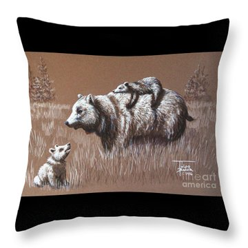 Riding Bear Back Throw Pillow