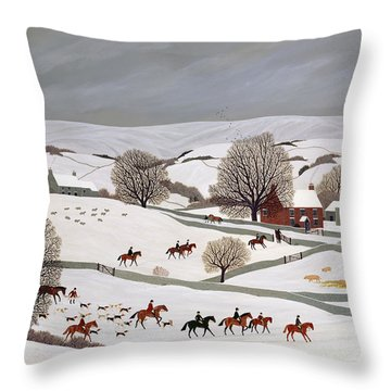 Riding In The Snow Throw Pillow by Vincent Haddelsey