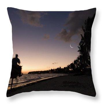 Riding On The Beach Throw Pillow by Adam Romanowicz