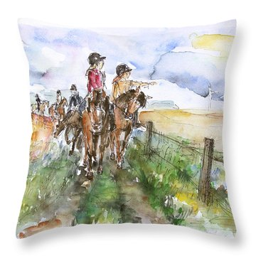 Riding Out Throw Pillow by Barbara Pommerenke