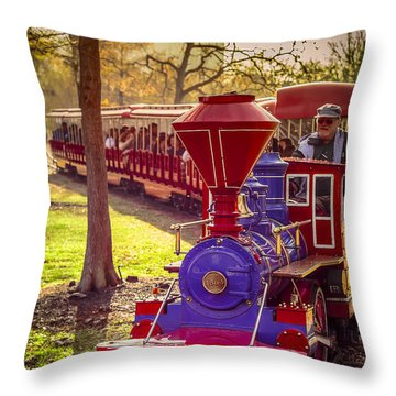 Riding Out Of The Sunset On The Hermann Park Train Throw Pillow