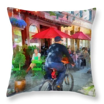 Riding Past The Cafe Throw Pillow by Susan Savad