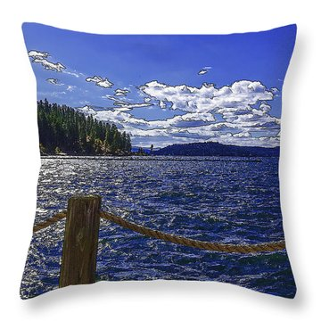 Riding The Floating Dock-2 Throw Pillow