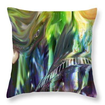 Riding The Wave Throw Pillow by Linda Sannuti