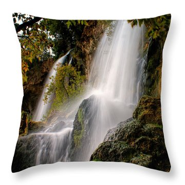 Throw Pillow featuring the photograph Rifle Falls by Priscilla Burgers