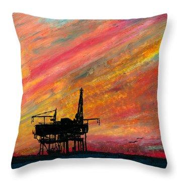 Rig At Sunset Throw Pillow