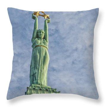 Riga Freedom Monument 04 Throw Pillow by Antony McAulay