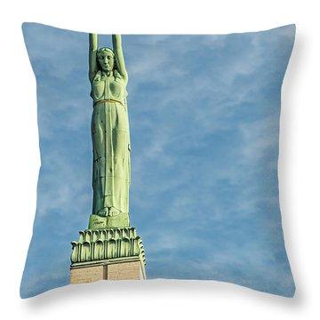 Riga Freedom Monument Throw Pillow by Antony McAulay