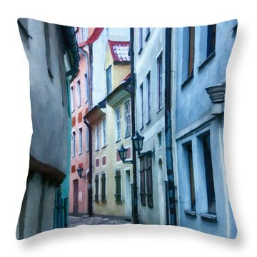 Riga Narrow Street Painting Throw Pillow by Antony McAulay