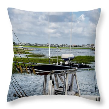 Rigged And Ready Throw Pillow by Ed Waldrop