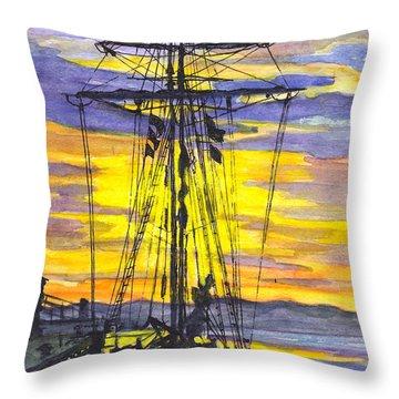 Rigging In The Sunset Throw Pillow by Carol Wisniewski