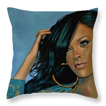 Rihanna Painting Throw Pillow