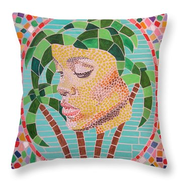 Rihanna Portrait Painting In Mosaic  Throw Pillow by Jeepee Aero