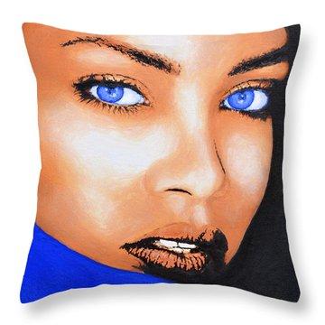 Rihanna Throw Pillow by Victor Minca