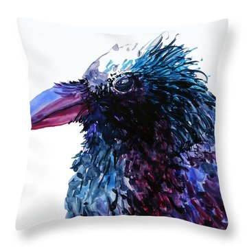 Riled Raven Throw Pillow by Karen Mattson