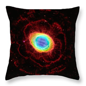Ring Nebula's True Shape Throw Pillow by Marco Oliveira