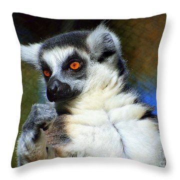 Throw Pillow featuring the photograph Ring-tailed Lemur by Lisa L Silva