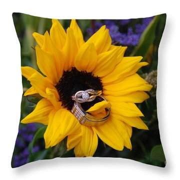 Rings On A Sunflower Throw Pillow