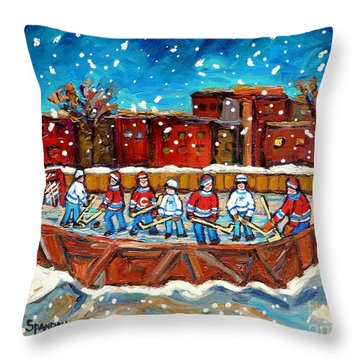 Rink Hockey Game Little Montreal Superstars Montreal Memories Snowy City Scene Carole Spandau Throw Pillow by Carole Spandau