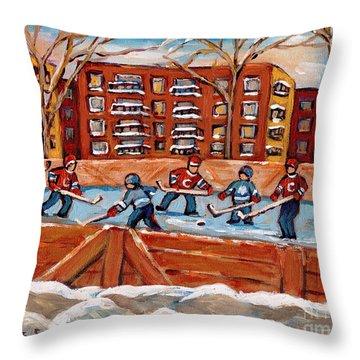 Rink Hockey Game-winter Scene Painting-montreal Street Scenes Throw Pillow by Carole Spandau