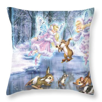 Rink In The Forest Throw Pillow by Zorina Baldescu