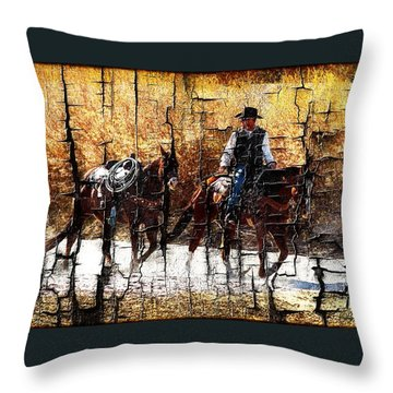 Rio Cowboy With Horses  Throw Pillow by Barbara Chichester