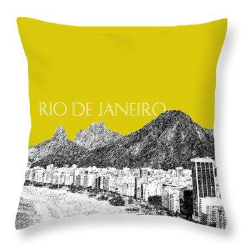 Rio De Janeiro Skyline Copacabana Beach - Mustard  Throw Pillow by DB Artist