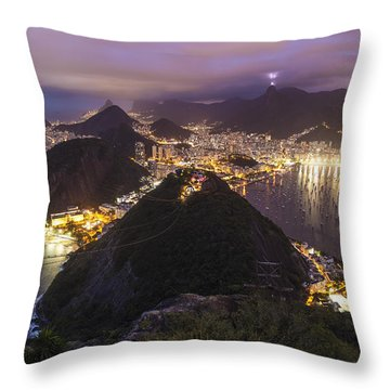 Rio Evening Cityscape Panorama Throw Pillow by Mike Reid