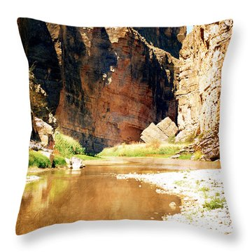 Rio Grande At Santa Elena Canyon Throw Pillow