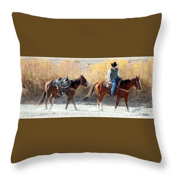 Rio Grande Cowboy Throw Pillow by Barbara Chichester