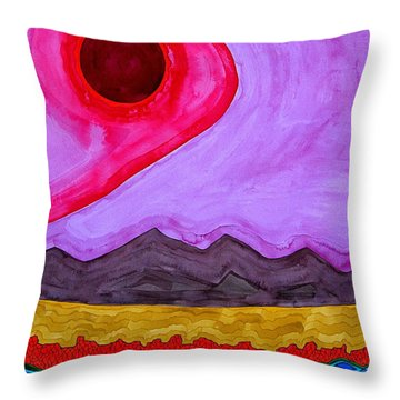 Rio Grande Gorge Original Painting Throw Pillow by Sol Luckman