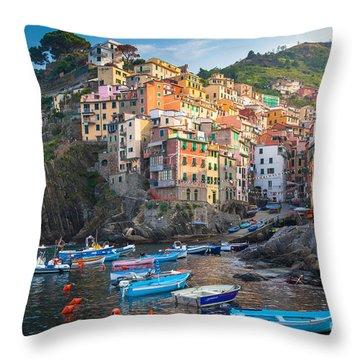 Riomaggiore Boats Throw Pillow