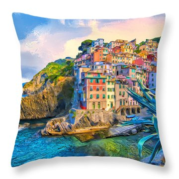 Riomaggiore Morning - Cinque Terre Throw Pillow by Dominic Piperata