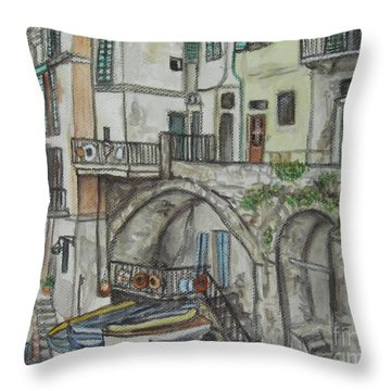 Riomaggoire Cinque Terre Italy Throw Pillow