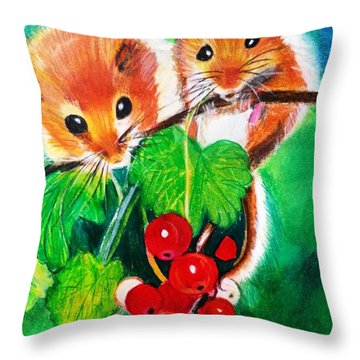 Ripe-n-ready Cherry Tomatoes Throw Pillow by Renee Michelle Wenker
