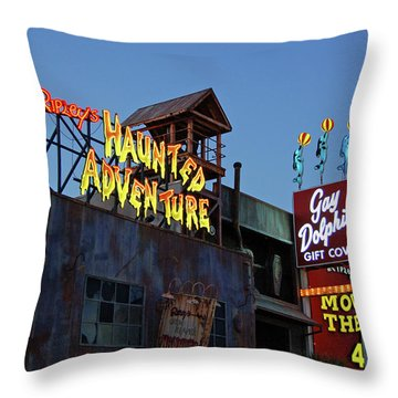 Ripleys Haunted Adventure And The Gay Dolphin-myrtle Beach South Carolina Throw Pillow by Suzanne Gaff