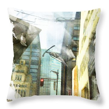 Ripped Cityscape Throw Pillow