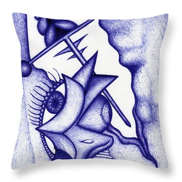 Throw Pillow featuring the drawing Ripple by Carl Hunter