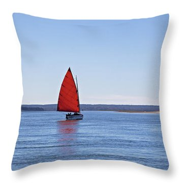 Ripple Catboat With Red Sail And Lighthouse Throw Pillow