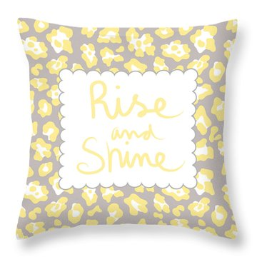 Rise And Shine- Yellow And Grey Throw Pillow