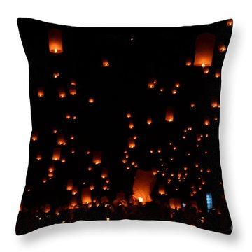 Rise Festival Lanterns 2014 Horizontal Ground And Sky #1 Throw Pillow