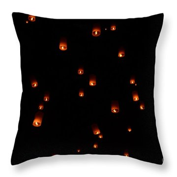 Rise Festival Lanterns 2014 Horizontal Sky Only Number One Throw Pillow by Heather Kirk