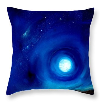 Rising Desert Moon Throw Pillow