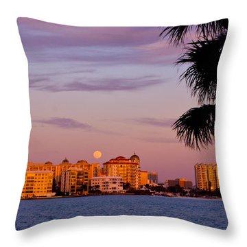 Rising Full Moon Sunset Sarasota Cityscape Throw Pillow