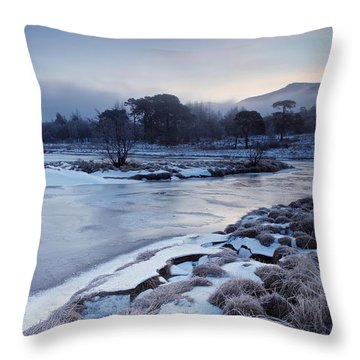 Rising Mist On Loch Tulla Throw Pillow