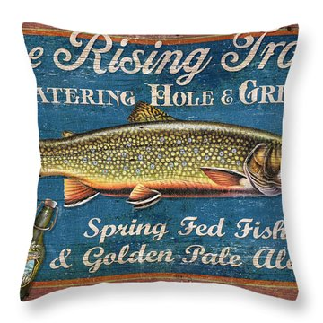 Rising Trout Sign Throw Pillow by JQ Licensing