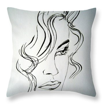 Throw Pillow featuring the drawing Ritratto Di Una Donna Sconosciuta - Portrait Of An Unknown Woman by Ze  Di